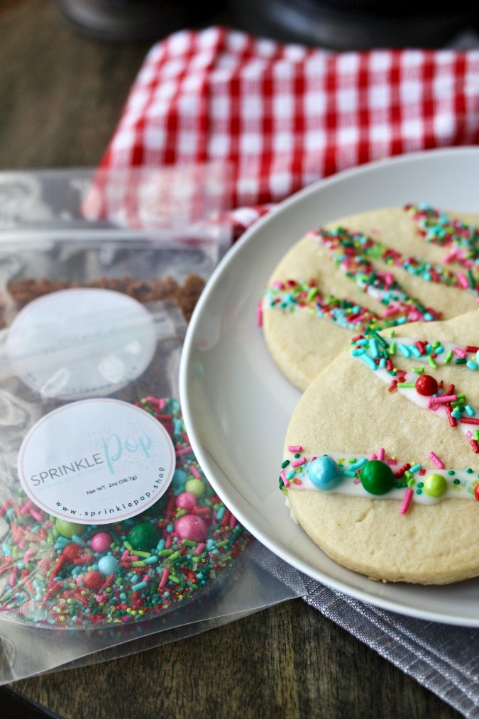 Christmas Ornament Cookies with sprinkle pop sprinkles