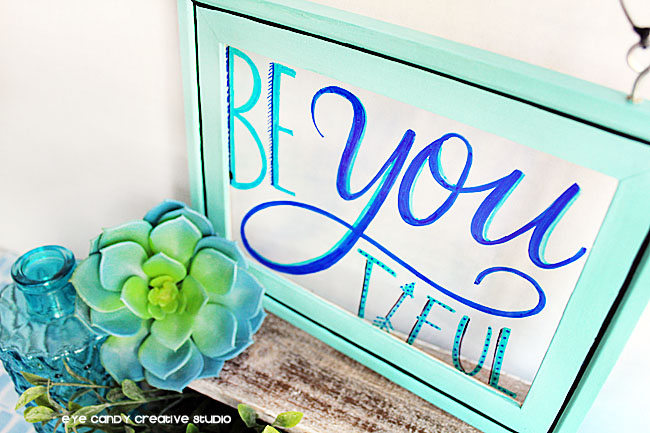 framed art, hand lettered art, bathroom DIY art, beYOUtiful art, DIY decor