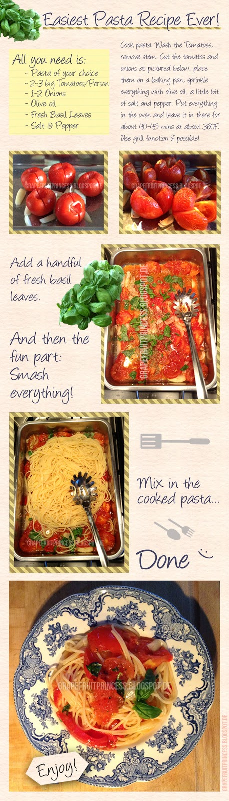 Easy Pasta Recipe, Vegan, clean eating, italian food, printable, basil, tomatoes, onions,