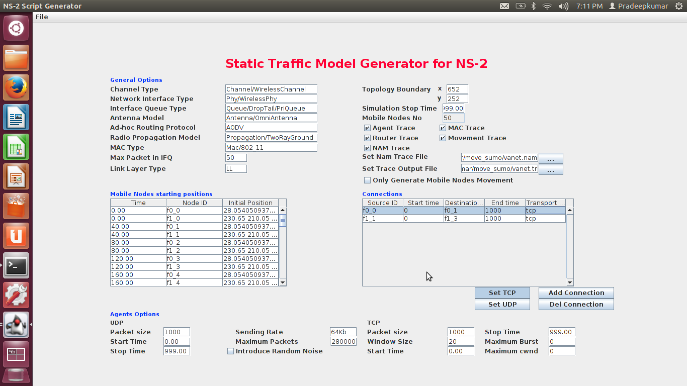 Network Simulators: SUMO and MOVE Example Traffic Simulation