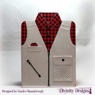 Divinity Designs Paper Collection: Menswear Material, Custom Dies: Couture Collection Fishing & Hunting Vest