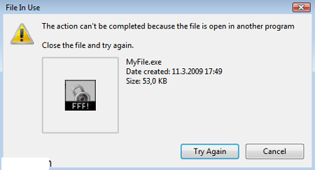 File in use- while removing pop-ups generating adware