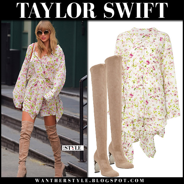 Taylor Swift in floral mini dress faith connexion and suede boots jimmy choo summer style july 15