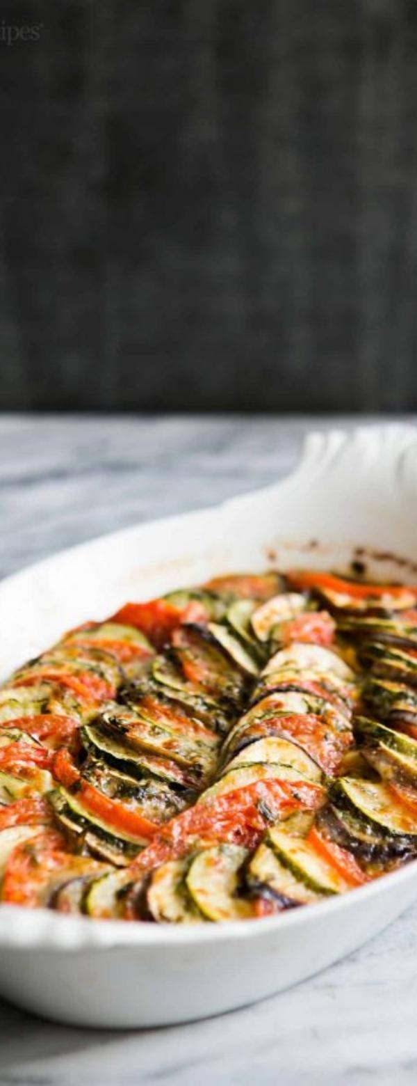Zucchini, Eggplant, Tomato Gratin Recipe #ZUCCHINI #TOMATO #DINNER