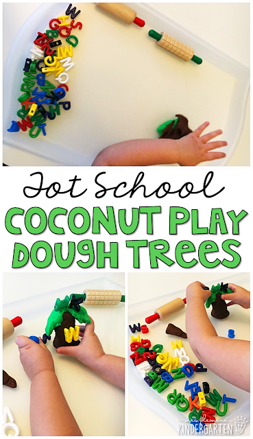 We LOVE this coconut play dough tree sensory activity to go with Chicka CHicka Boom Boom. Great for tot school, preschool, or even kindergarten!