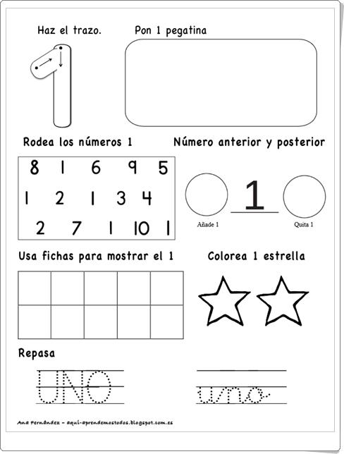"""""""Fichas para trabajar los números del 1 al 10"""""""