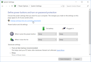 Windows 10 - Klik Change settings that are currently unavailable