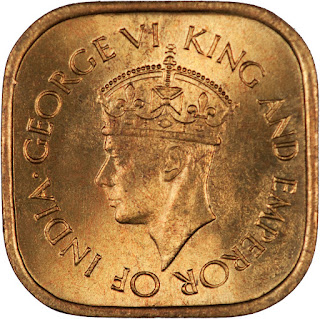 Ceylon Coins 5 Cents 1944 Crowned King George VI