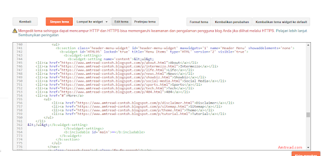ganti tanda # menjadi link di blog kamu dan ubah nama menunya