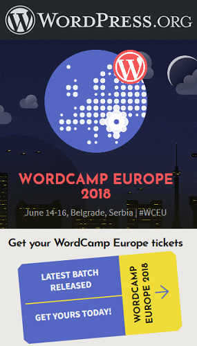 WordCamp Europe, 14-16/06/18, Belgrade