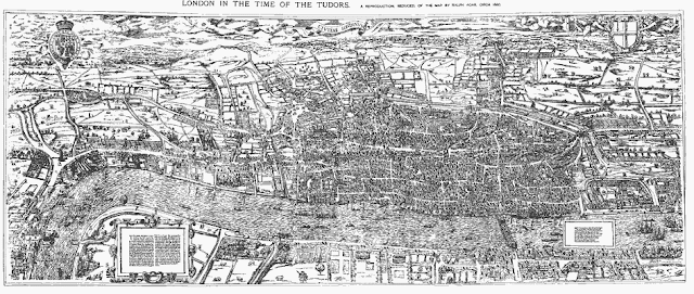 By Mike Calder, image of Civitas Londinium, Agas' Map of London, c. 1570-1605 [Public domain], via Wikimedia Commons