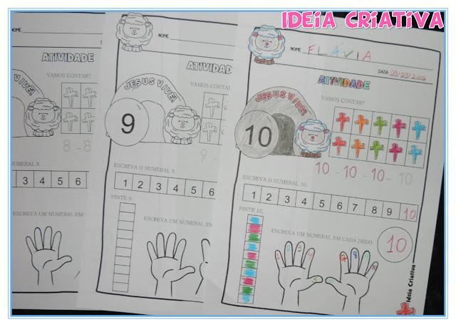 Caderno de Atividades Páscoa Cristã Numerais 1 a 10