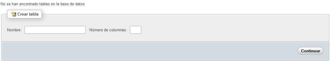 Ventana para crear una tabla en phpMyAdmin