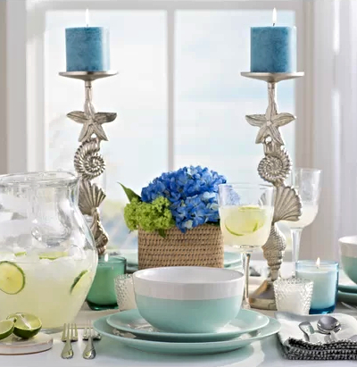 Coastal Sea Shell Candle Holder Sticks