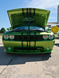 Dodge Challenger Smoked Black on Lime Green