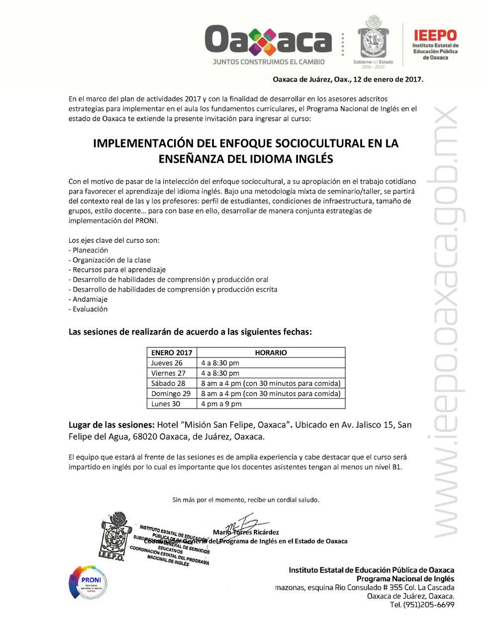 Unidad de Educación Secundaria - IEEPO: Invitación para Docentes de ...