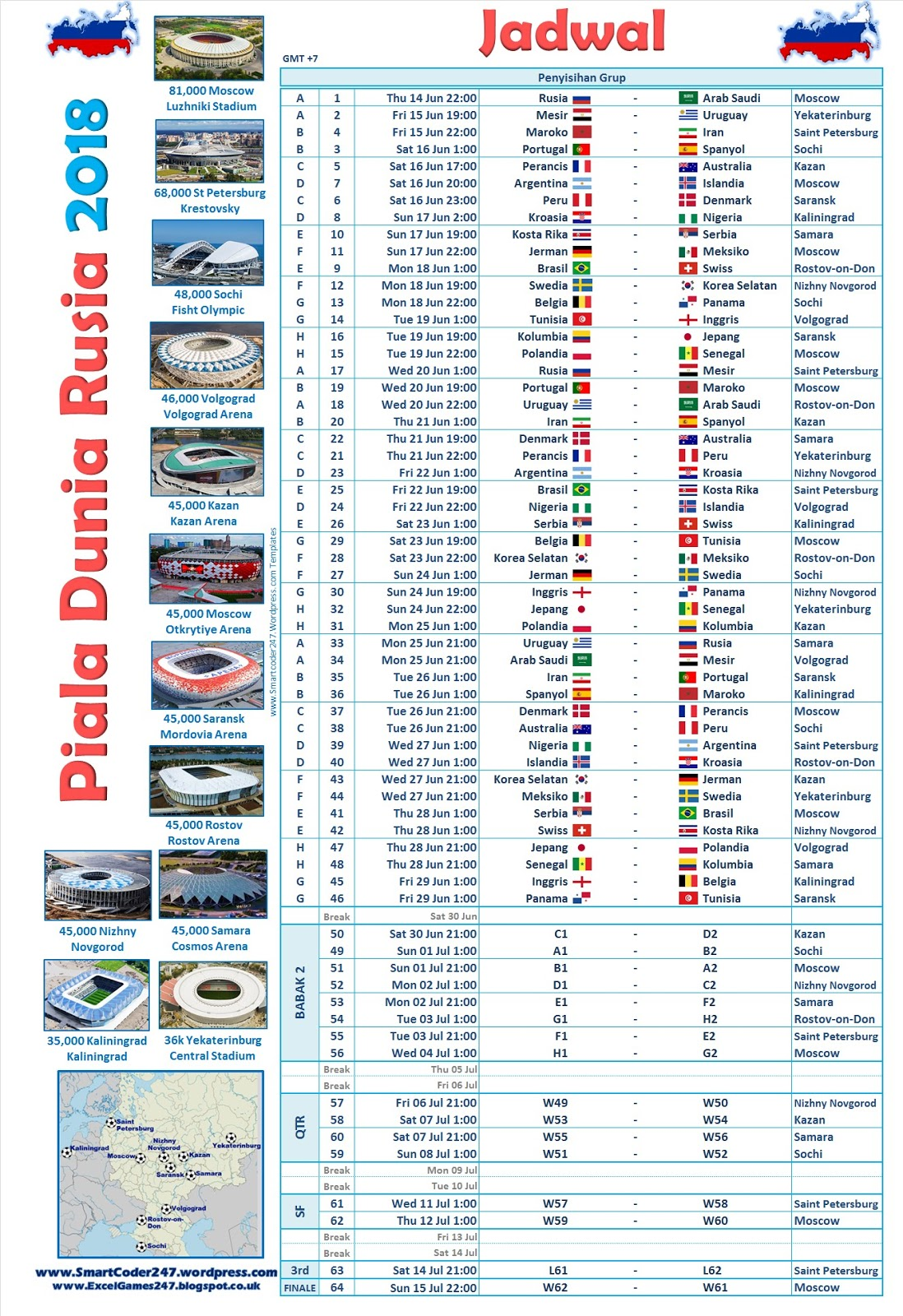 Smartcoder 247 - Russia 2018 World Cup Football Excel ...