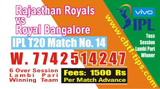 IPL 2019 14th Match Prediction Tips by Experts RR vs RCB