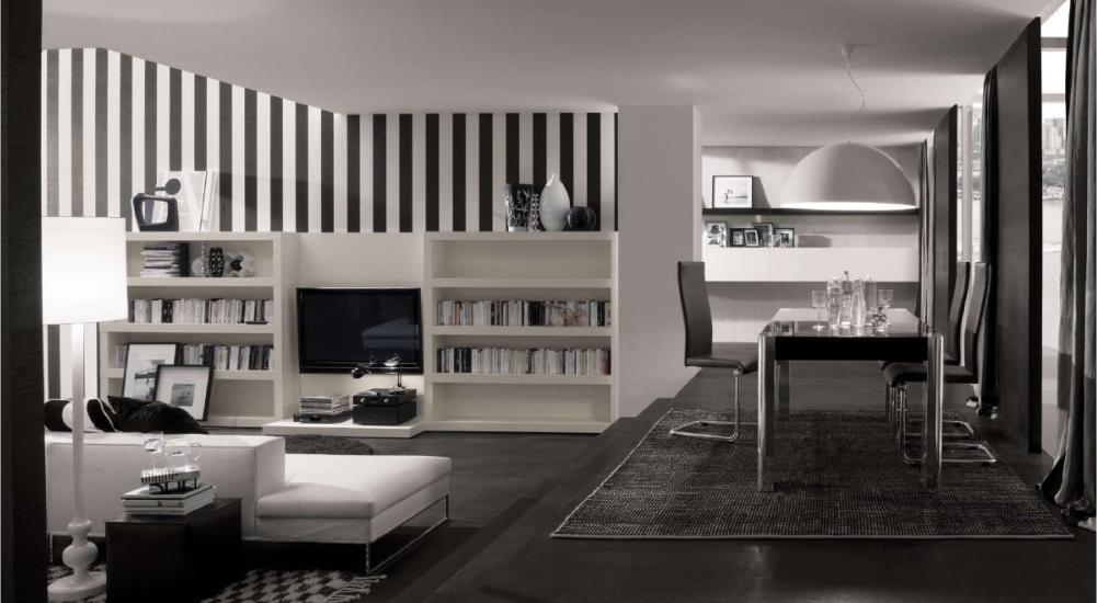 ruang tamu hitam putih