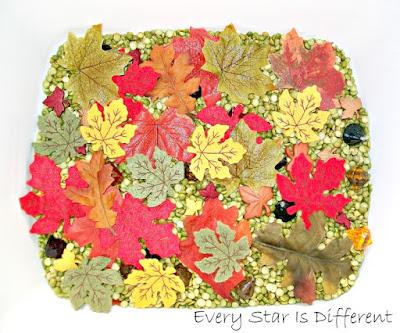 Autumn leaf sensory bin