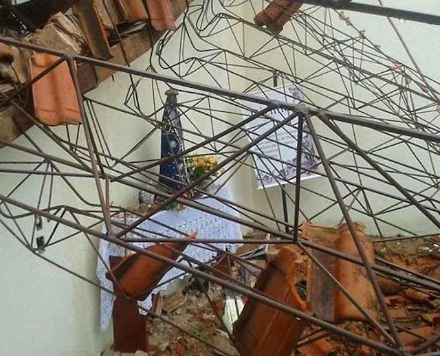 Imagem de Nossa Senhora Aparecida incólume entre os escombros, Assis, SP.