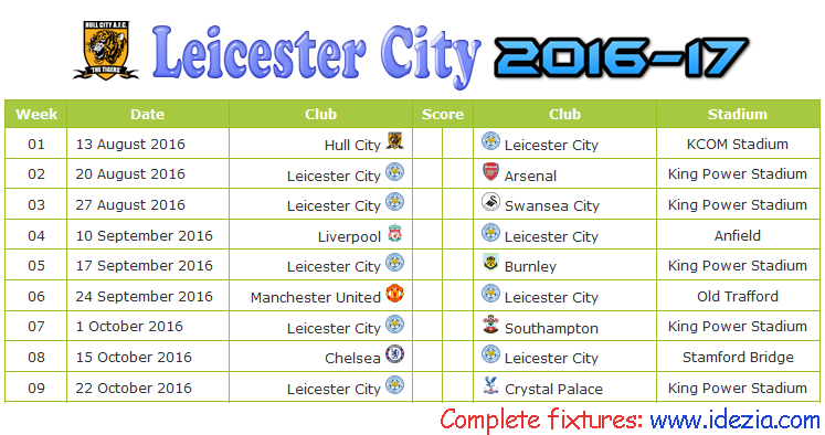 Download Jadwal Leicester City FC 2016-2017 File JPG - Download Kalender Lengkap Pertandingan Leicester City FC 2016-2017 File JPG - Download Leicester City FC Schedule Full Fixture File JPG - Schedule with Score Coloumn