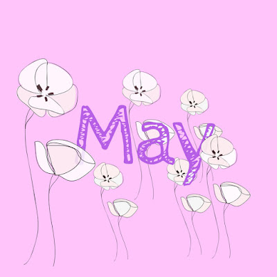'May' written in purple, surrounded by white poppy-like flowers