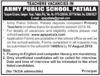 Army Public School Patiala Teachers Vacancies 2015