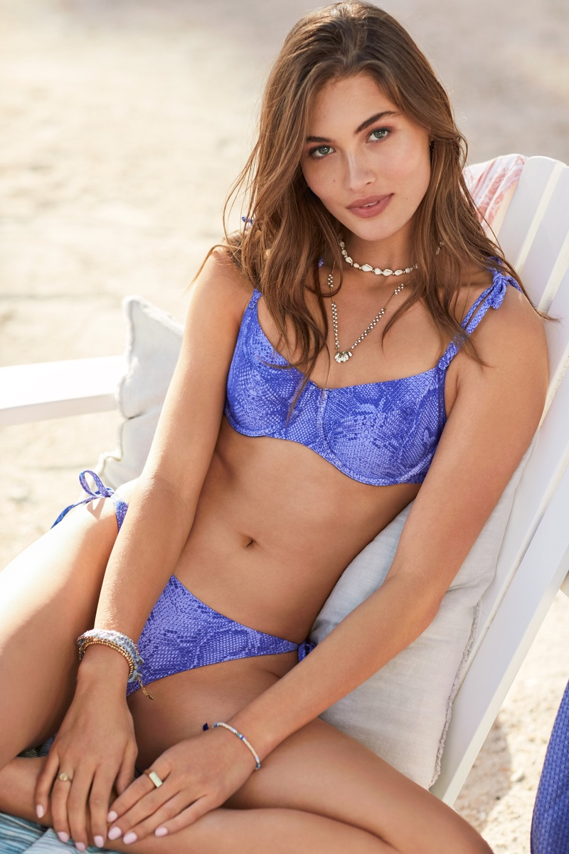 Grace Elizabeth models Victoria's Secret shoulder tie underwire top and side tie bottom