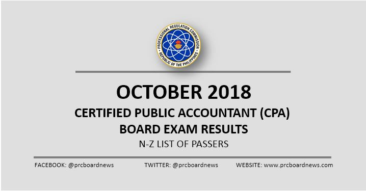 N-Z PASSERS: October 2018 CPA board exam result