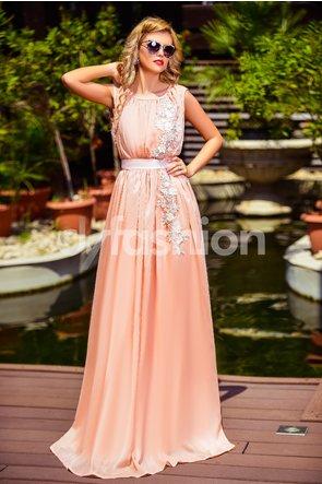 rochie lunga de evenimente roz pudra cu croi in pliuri fara maneci