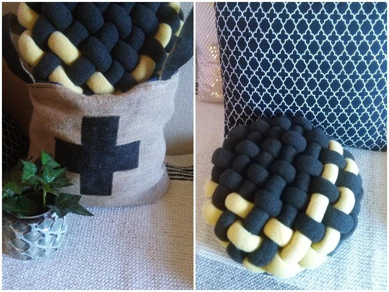 zrobiłam plecioną poduszkę ze swetrów