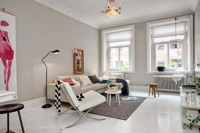 Blog Achados de Decoração. Apartamento decorado em branco, preto e cinza chic.