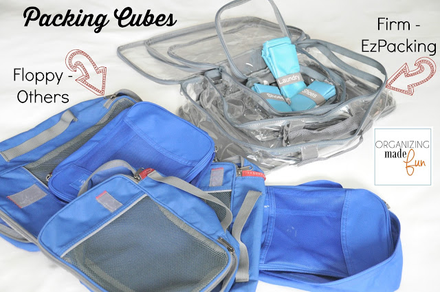 The EzPacking cubes are firm, while others are floppy :: OrganizingMadeFun.com