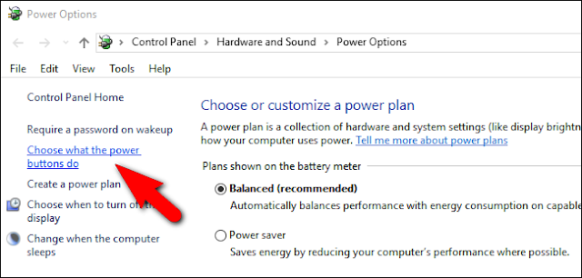 Click, Choose what the power button do