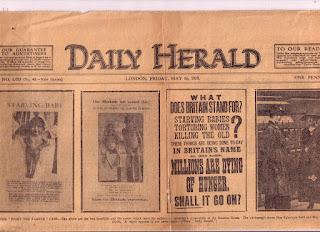 Periódico inglés que muestra las campañas que realizaba Eglantyne Jebb