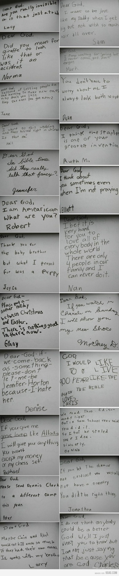 Funny Children's Letters to God picture collection