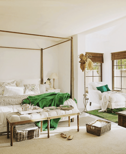 Green and White master bedroom - chaise, bed frame, bench, blinds, palette (Cool Chic Style Fashion)