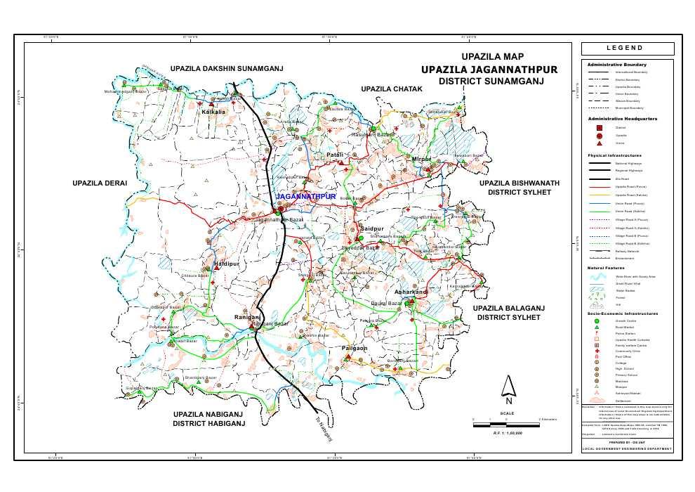 Jagannathpur Upazila Map Sunamganj District Bangladesh