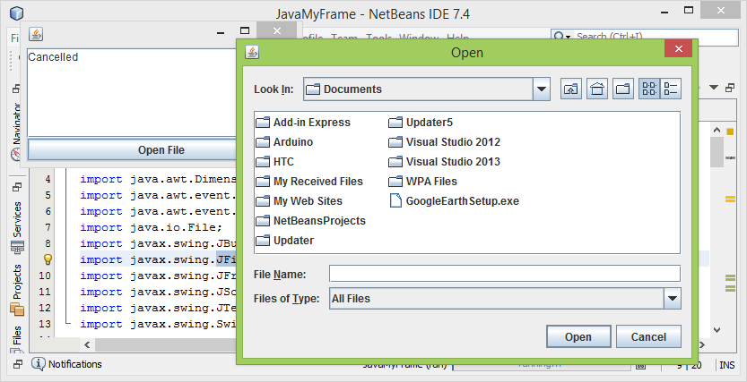 Java-Buddy: Example of using Swing JFileChooser