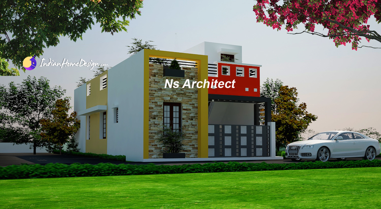 Contemporary Tamilnadu Flat roof Home design Ideas by NS Architect