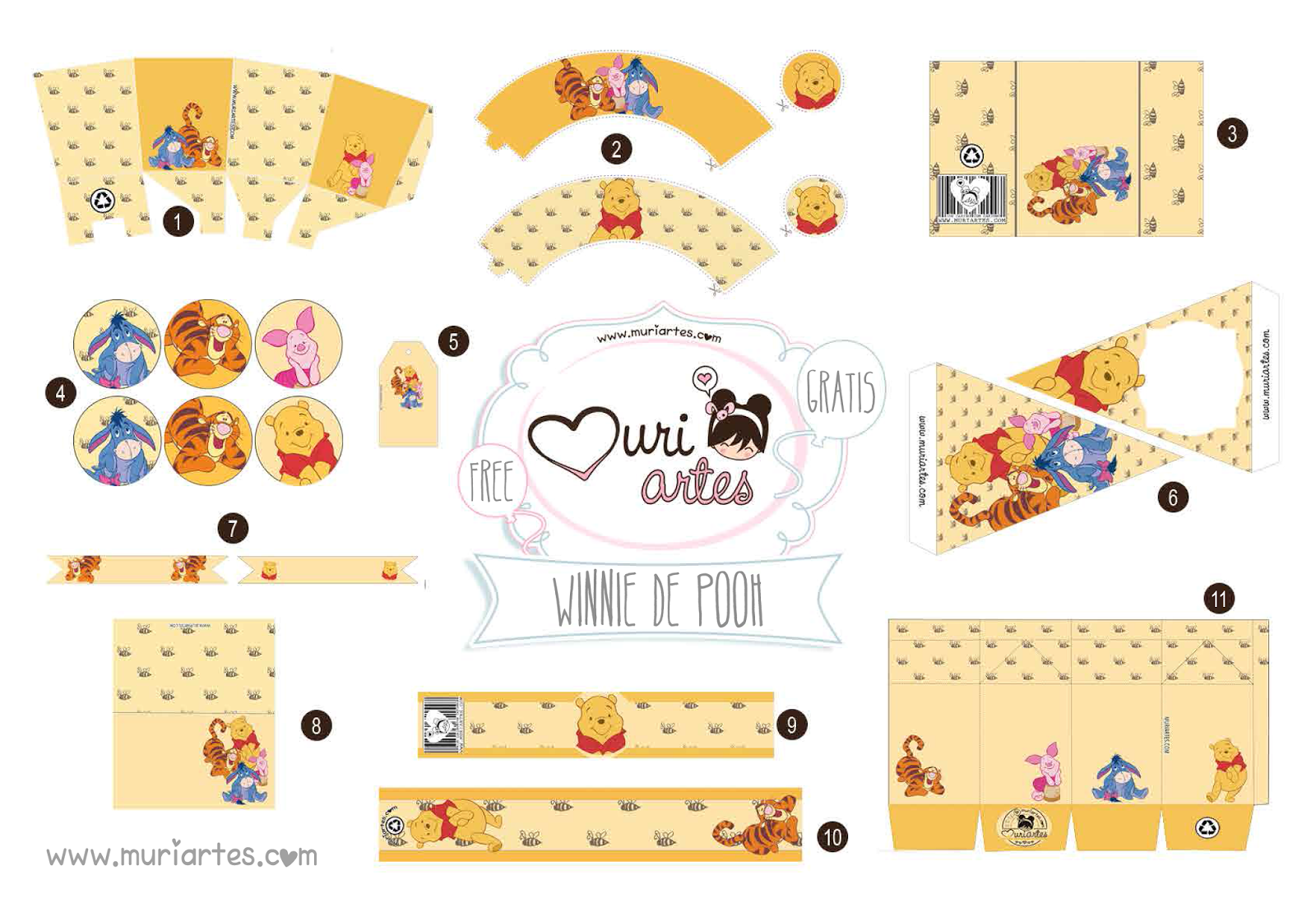 Lovely Winnie The Pooh Free Printable Editable Kit Oh My Baby