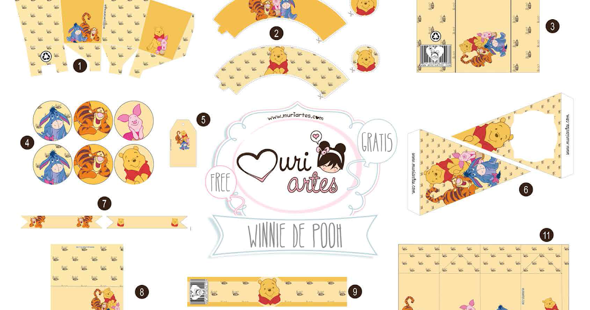 lovely winnie the pooh free printable editable kit  oh