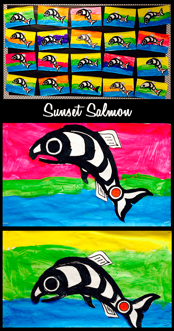 Ideas and Freebies for a 1st Grade Salmon Unit: Salmon Books, Salmon Mural, Lifecycle Wheel, Salmon Art. #gradeonederful #salmonunit #firstgrade #firstgradesalmon