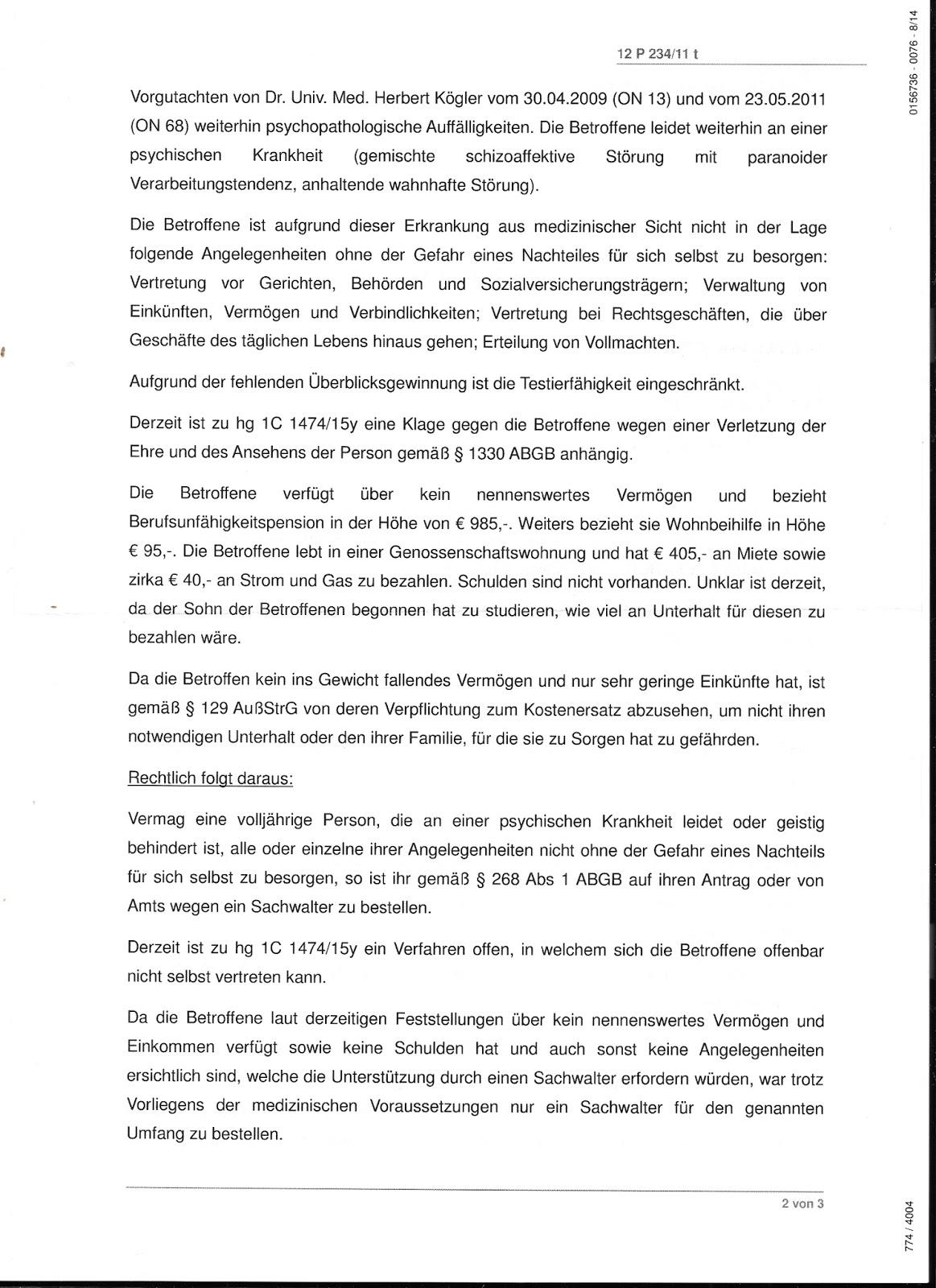 Chronologie einer ENTMÜNDIGUNG : 2016 Mündels Bilanz aus ...