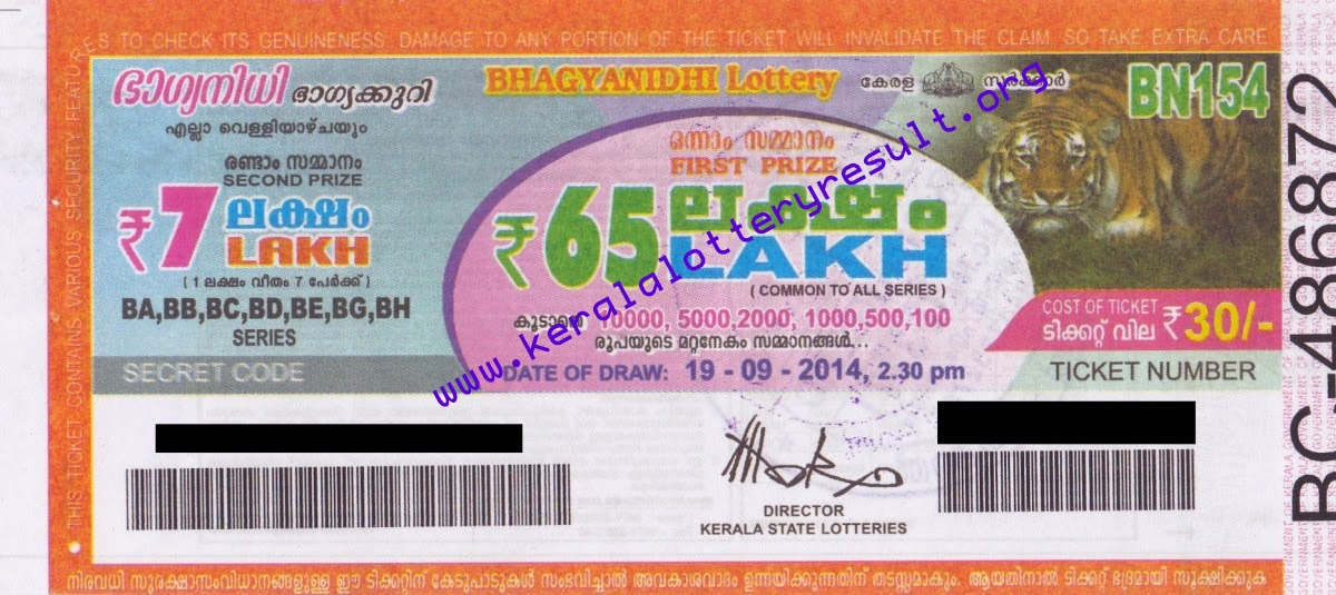 Kerala State BHAGYANIDHI Weekly Lottery