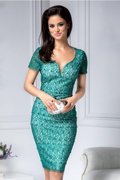 Rochie midi de lux de seara verde cu sclipici si perlute