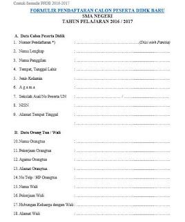 Formulir PPDB (Pendaftaran Peserta Didik Baru) SMA 2016-2017