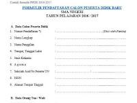 Contoh Formulir PPDB SMA Format DOC