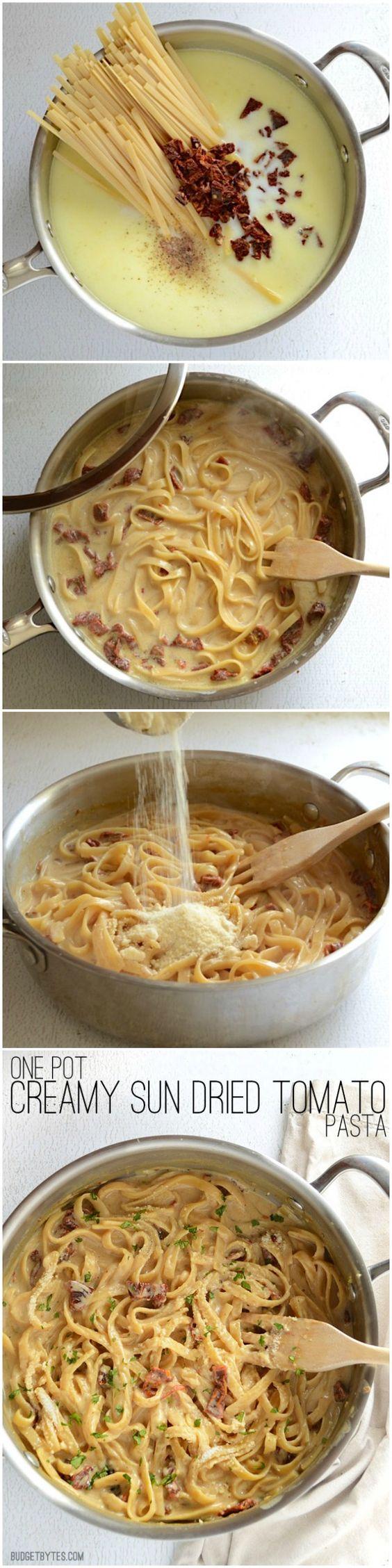 One Pot Creamy Sun Dried Tomato Pasta